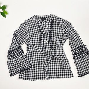 J.Crew Gingham Wide Sleeve Button Front Shirt